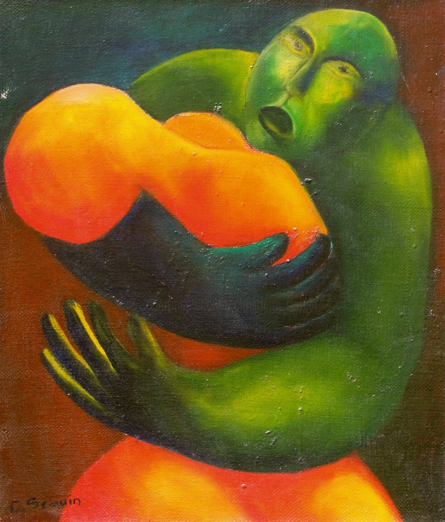 christiane seguin - Couple rouge + vert