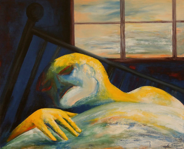 Christiane Seguin - Lit devant la Fenêtre